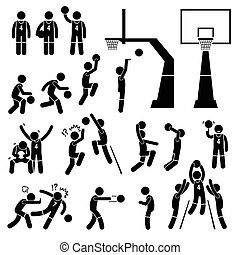 Basketball Player Actions - A set of stickman pictogram...
