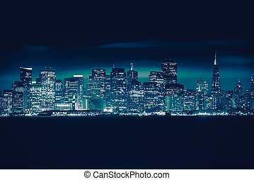 San Francisco Blue Skyline Photo Concept. San Francisco...