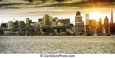 San Francisco Sunset Panorama with Oakland Bay Bridge United...