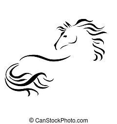 vector, dibujo, caballo,