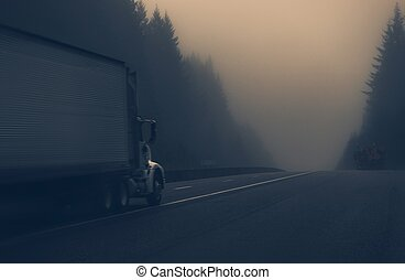Truck on the Foggy Highway - Trucks on the Foggy Highway in...