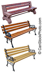 Benchs - three beautiful benches on white background