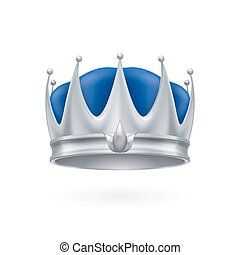 Silver crown - Royal silver crown isolated on a white...