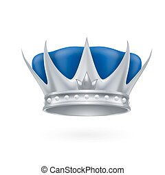 Silver crown - Royal silver crown on a white background