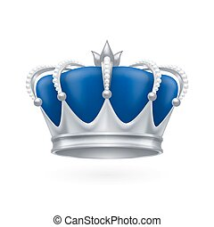 Silver crown - Royal silver crown on a white background for...