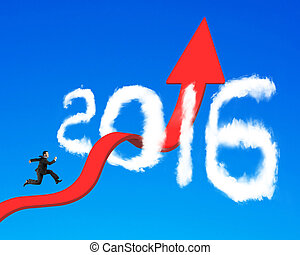 Businessman running on arrow upward trend line through 2016...
