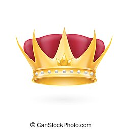 Gold crown - Golden crown royal attribute isolated on a...