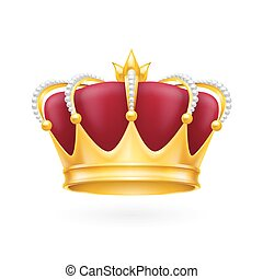 Gold crown - Royal attribute golden crown isolated on the...