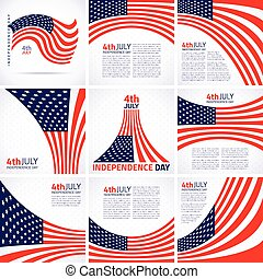 Set of Stylish American Independence day design, american flag