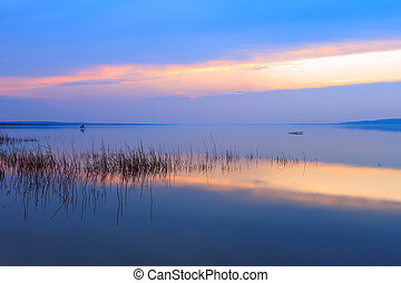 Lake Balaton-Hungary - Beautiful sunset in lake...