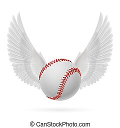Flying baseball - Realistic baseball emblem with white wings...