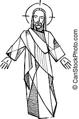 Jesus Resurrection d - Hand drawn vector illustration or...