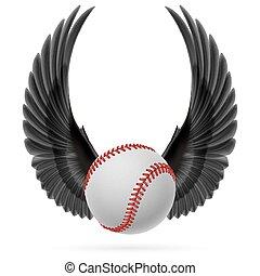 Flying baseball - Realistic baseball emblem with raised up...