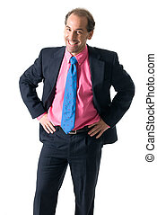 Businessman laughing on white background