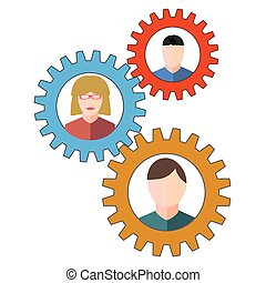Business people and staff icons in circles depicting a set...
