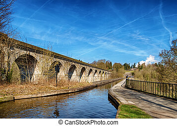 Chirk viaduct and aquaduct - View of the Chirk viaduct and...