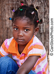 african child - shallow DOF of african child with braids and...