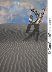 Desert with pointing statue