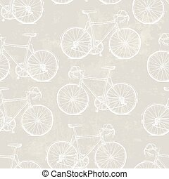 Aged Vintage Bicycles Seamless Pattern