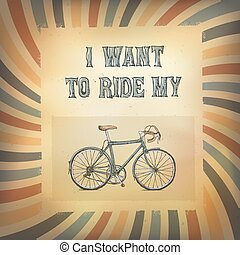 Vintage bycicle poster. On retro sunburst background