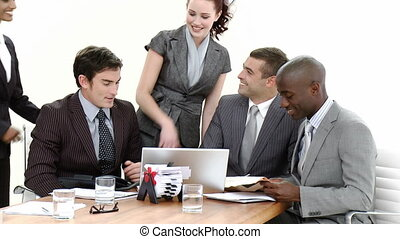 Busy office environment - Young Business people in a busy...