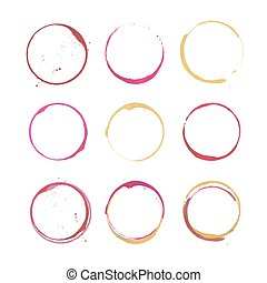 Wine stain circles - Vector set of rose, red and white Wine...