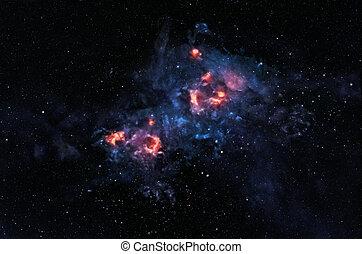 Glowing nebula - Bright intricate nebula glowing in deep...