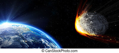 Impact Earth - meteor in collision