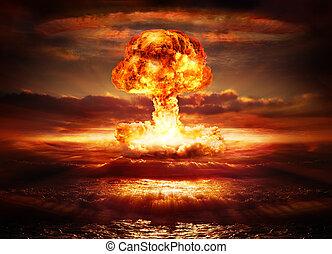 explosión, nuclear, bomba, en, Océano,