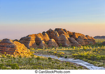 Bungle Bungles National Park just before sunset. - the...