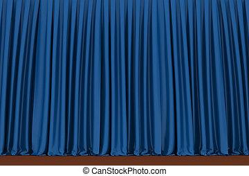 青, 劇場, カーテン, background, ,
