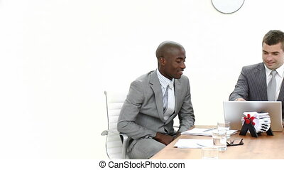 Panorama of three businessmen in a meeting - Panorama of two...
