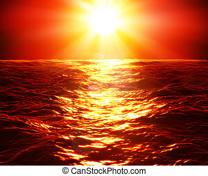 red sunset over sea