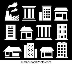 set white urban buildings - set isolated white urban...