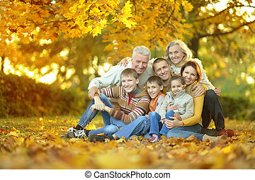Family relaxing in autumn park - Happy smiling family...