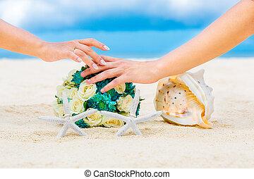 macho, e, femininas, mãos, dois, casório,...