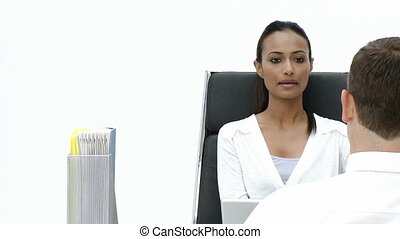 Female Business woman giving an interview