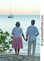 Elderly couple on the beach facing the sea - Elderly couple...