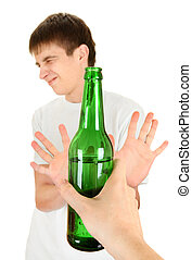 Teenager refuse an Alcohol - Teenager refuse a Bottle of the...