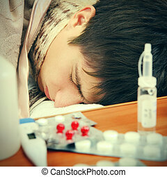 Sick Teenager sleeping - Toned Photo of Sick Teenager sleep...