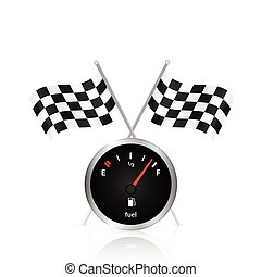Gas Gage and Checker Flag Illustration