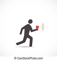 Running Figure with Megaphone