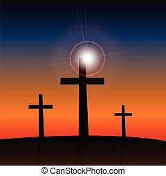Religious Crosses - Illustration of 3 religious crosses...