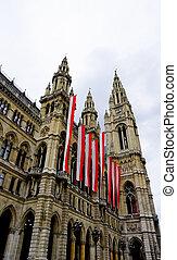 verticall city hall in Vienna Austria