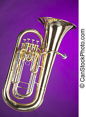 Tuba Euphonium Isolated on Purple - A gold brass tuba...