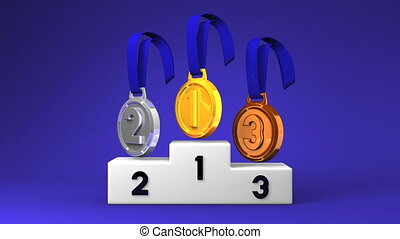 Medals And Podium On Blue Background. Loopable 3D render...