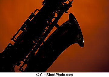 Saxophone Silhouette Isolated on Gold