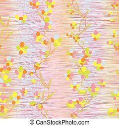 Abstract colorful buttercups on grunge striped vertical...