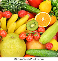 background of different fruits and vegetables