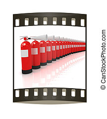 Red fire extinguishers The film strip - Red fire...